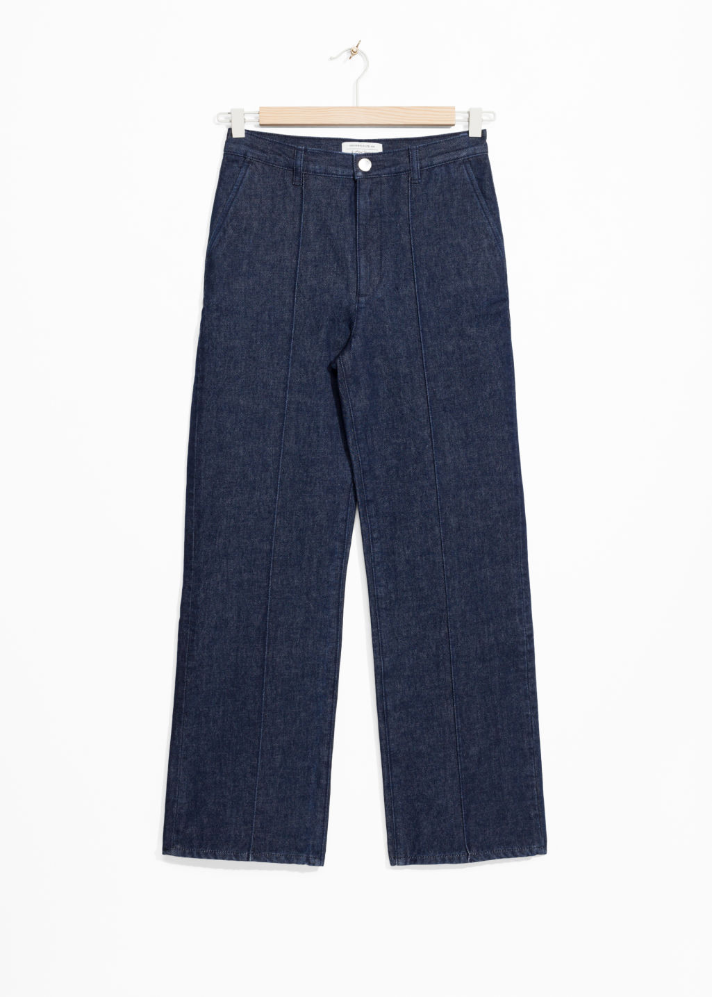 Front image of Stories flare denim trousers in blue