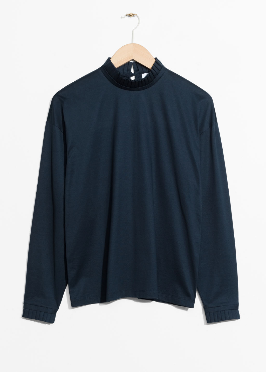 Front image of Stories pleated frill sweater  in blue