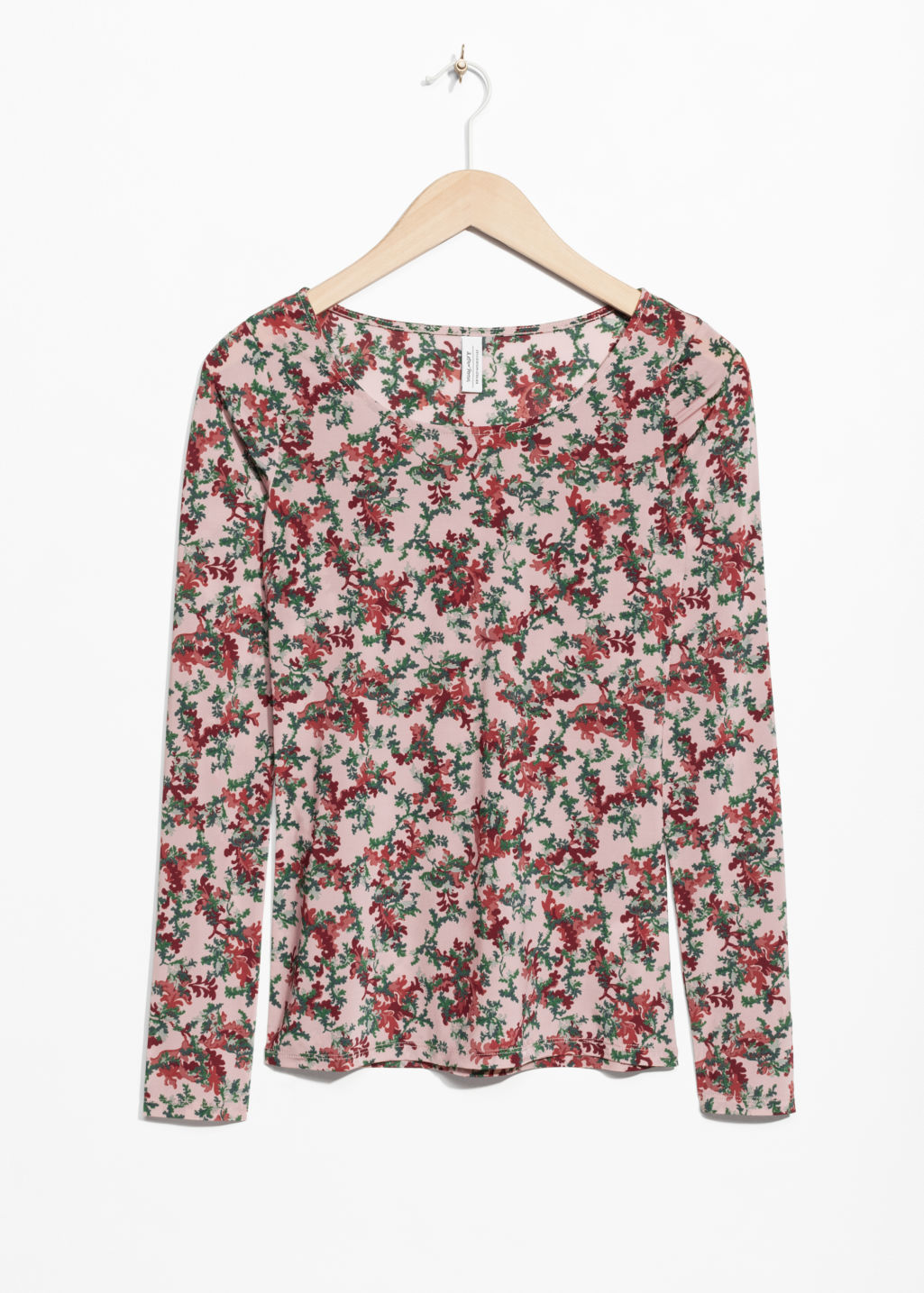 Front image of Stories moss print topp in pink
