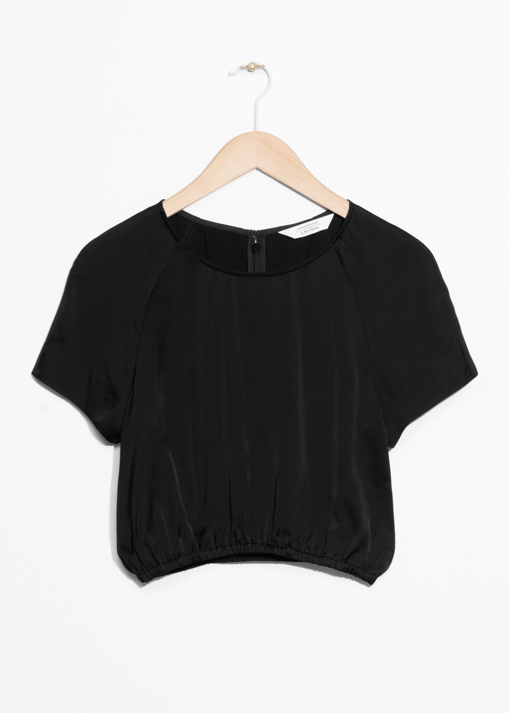 Front image of Stories voluminous crop blouse in black