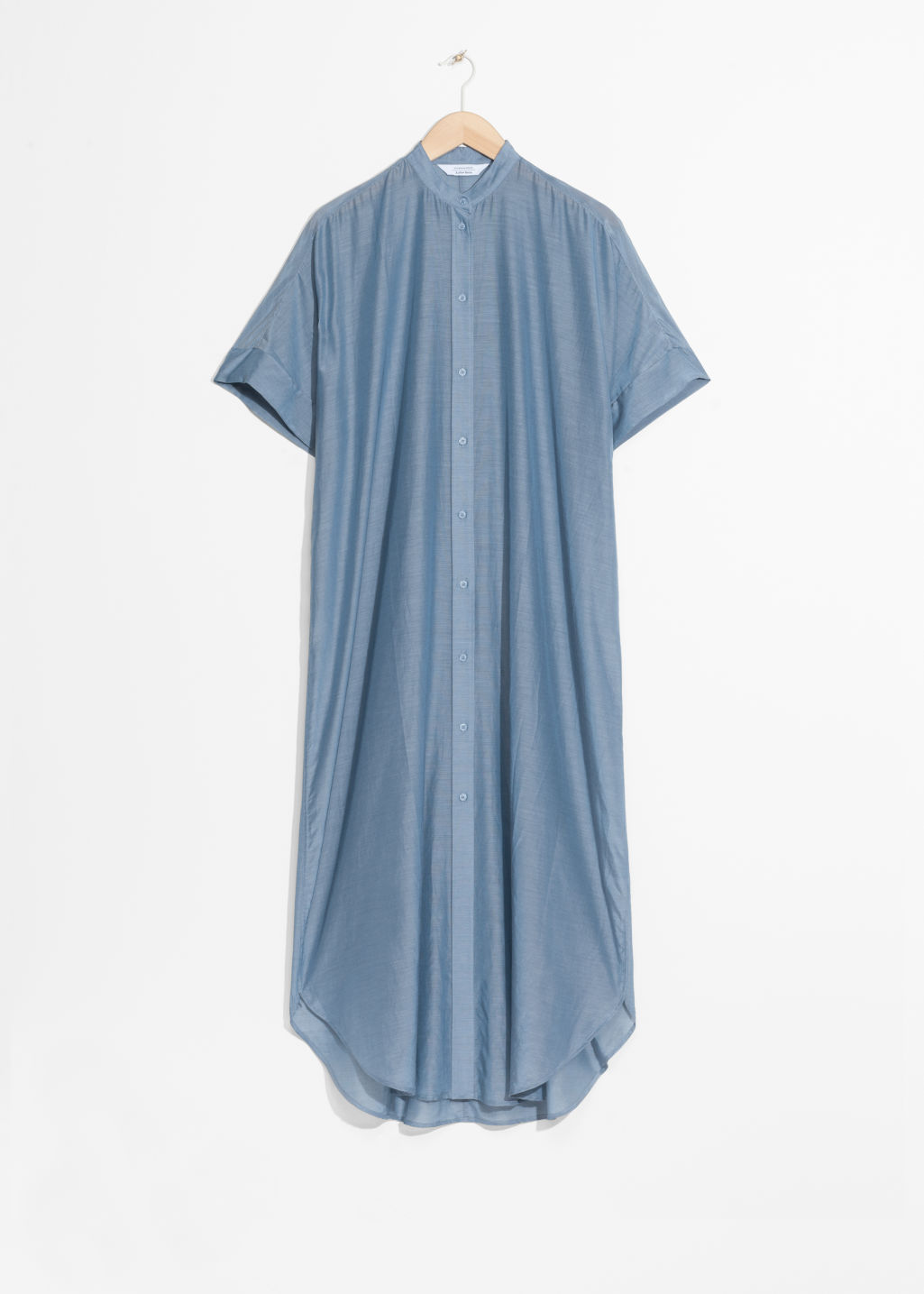 Front image of Stories silk blend dress in blue