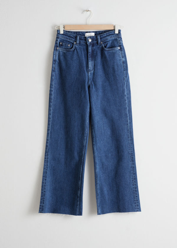 Front image of Stories cropped mid rise flared jeans in blue