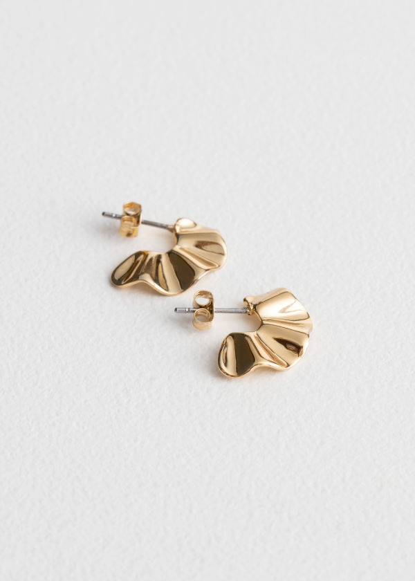 Front image of Stories ripple waves mini hoops in gold