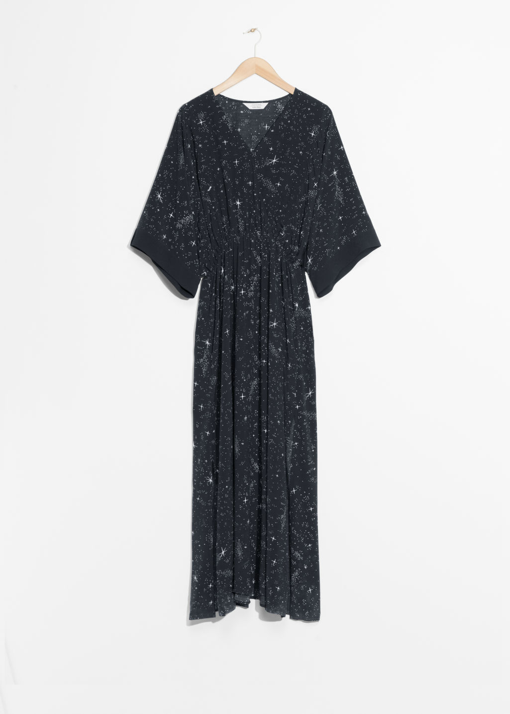 Front image of Stories starry sky print dress in black
