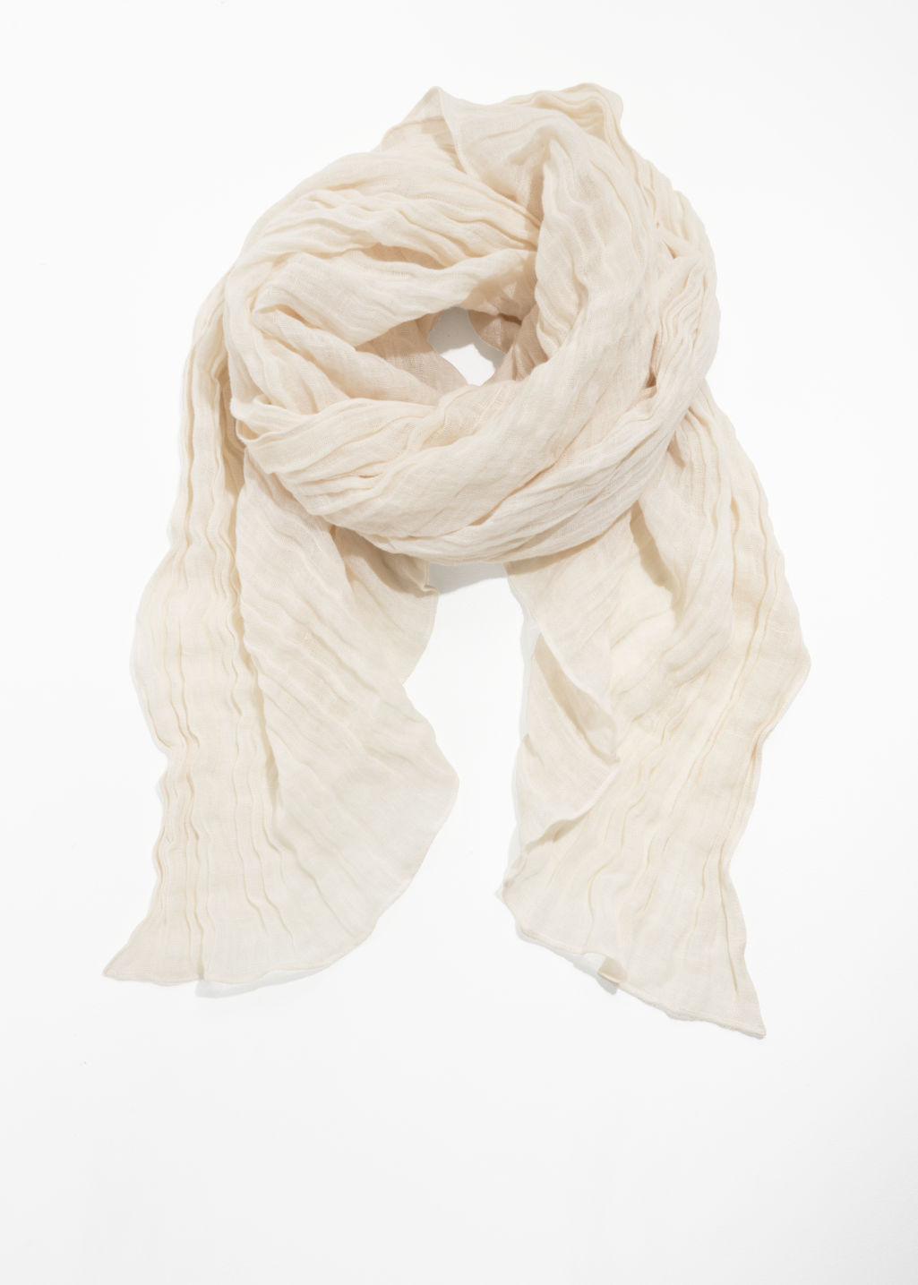 Front image of Stories linen scarf in white