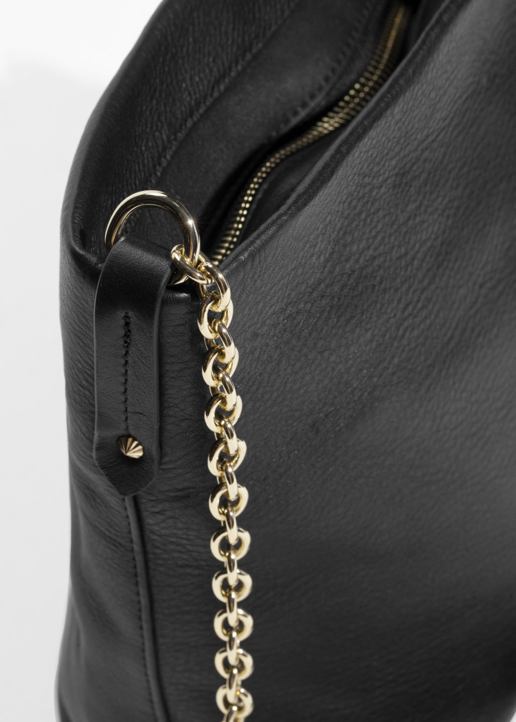 Back image of Stories leather bucket bag in black