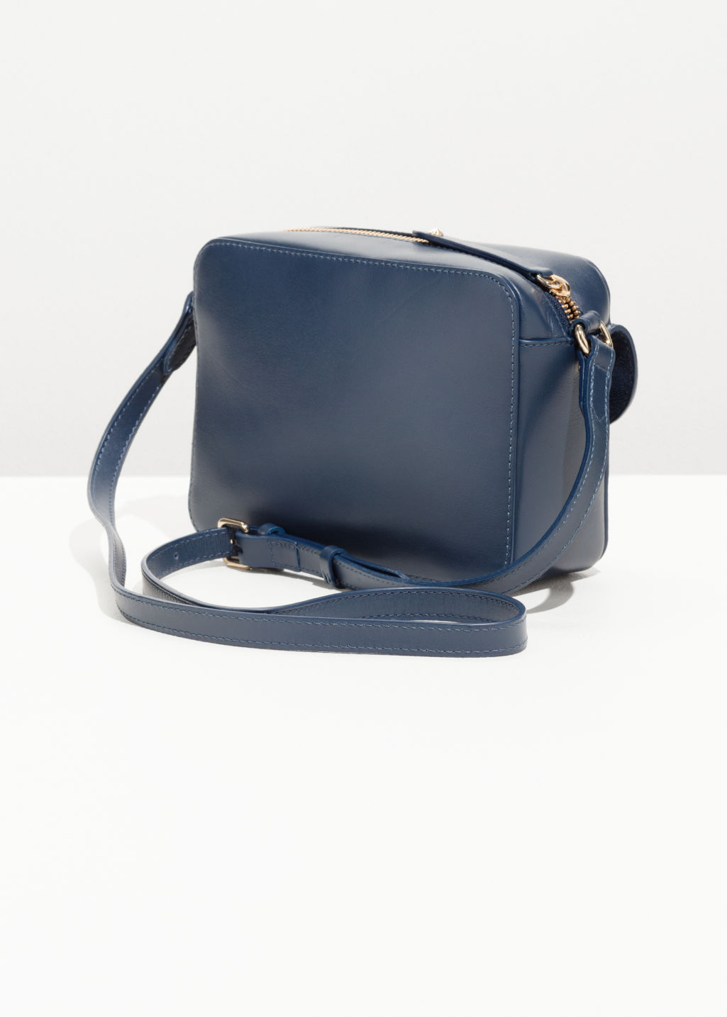 Back image of Stories mini leather shoulder bag in blue