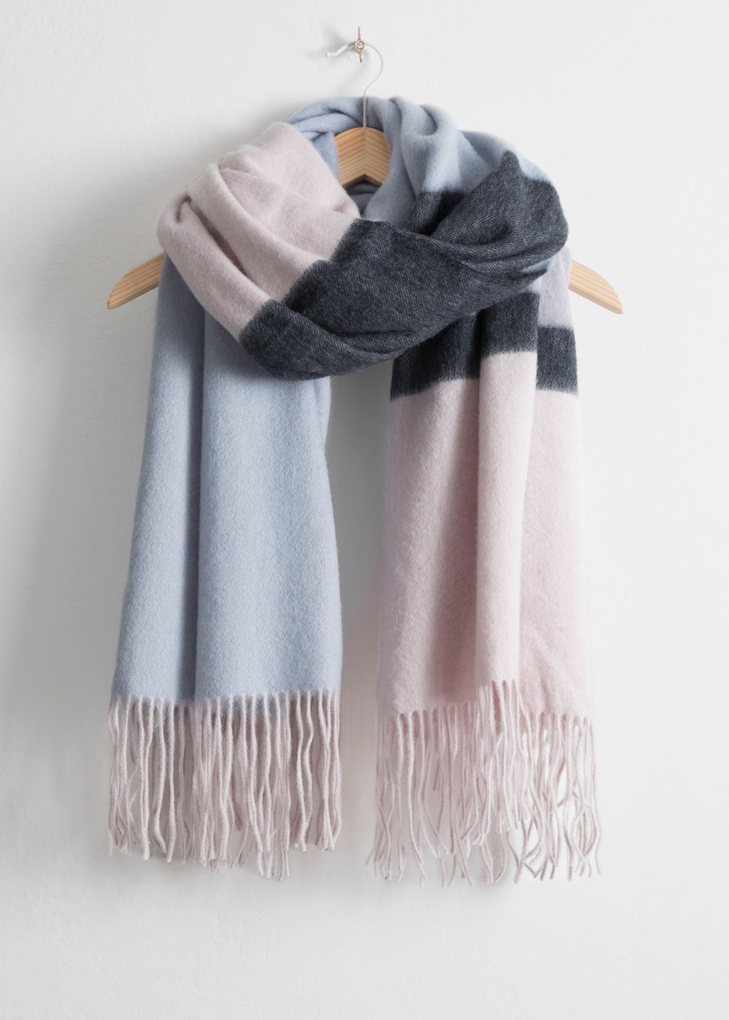 Front image of Stories oversized striped scarf in blue