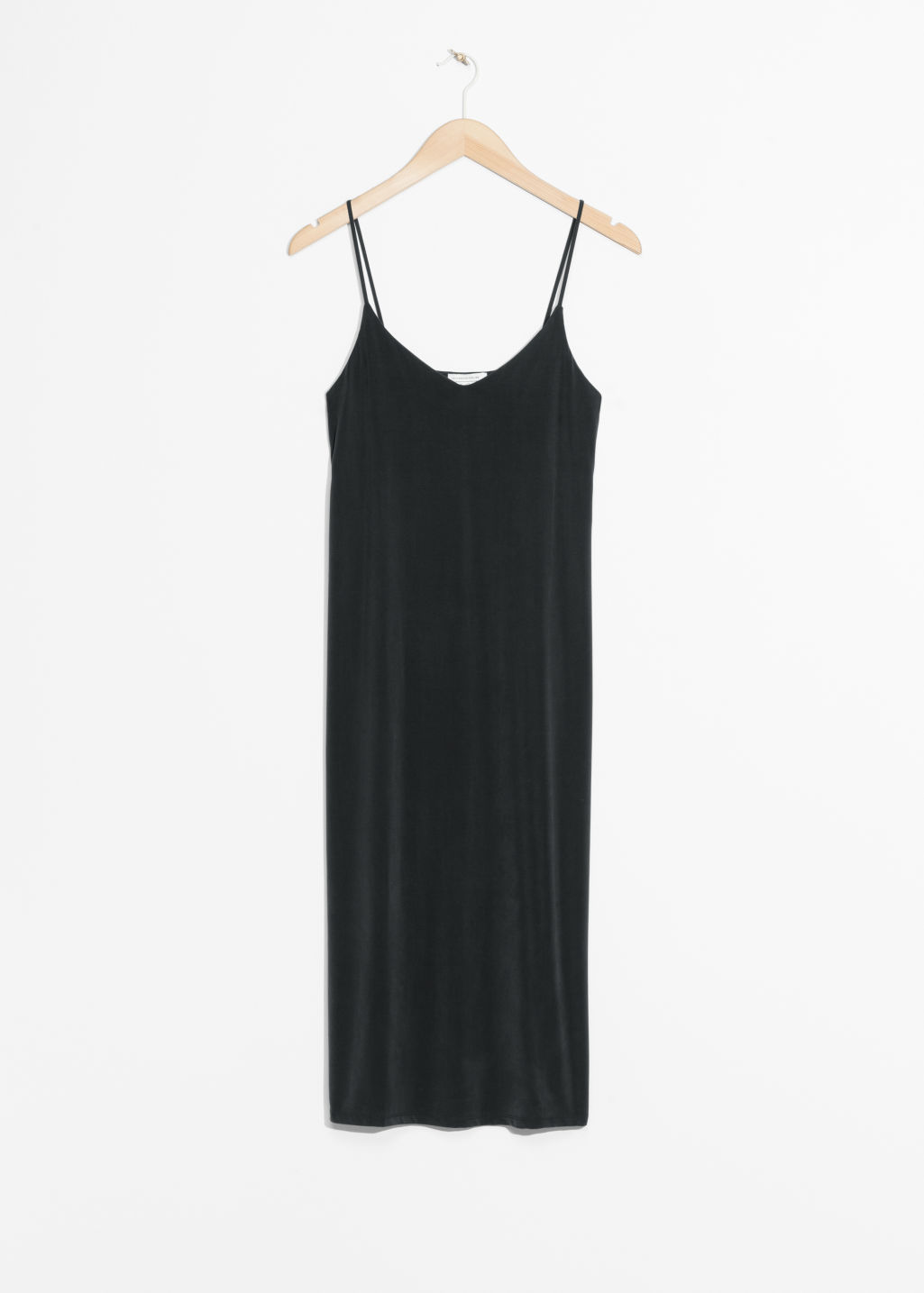 Front image of Stories cami strap cupro dress in black