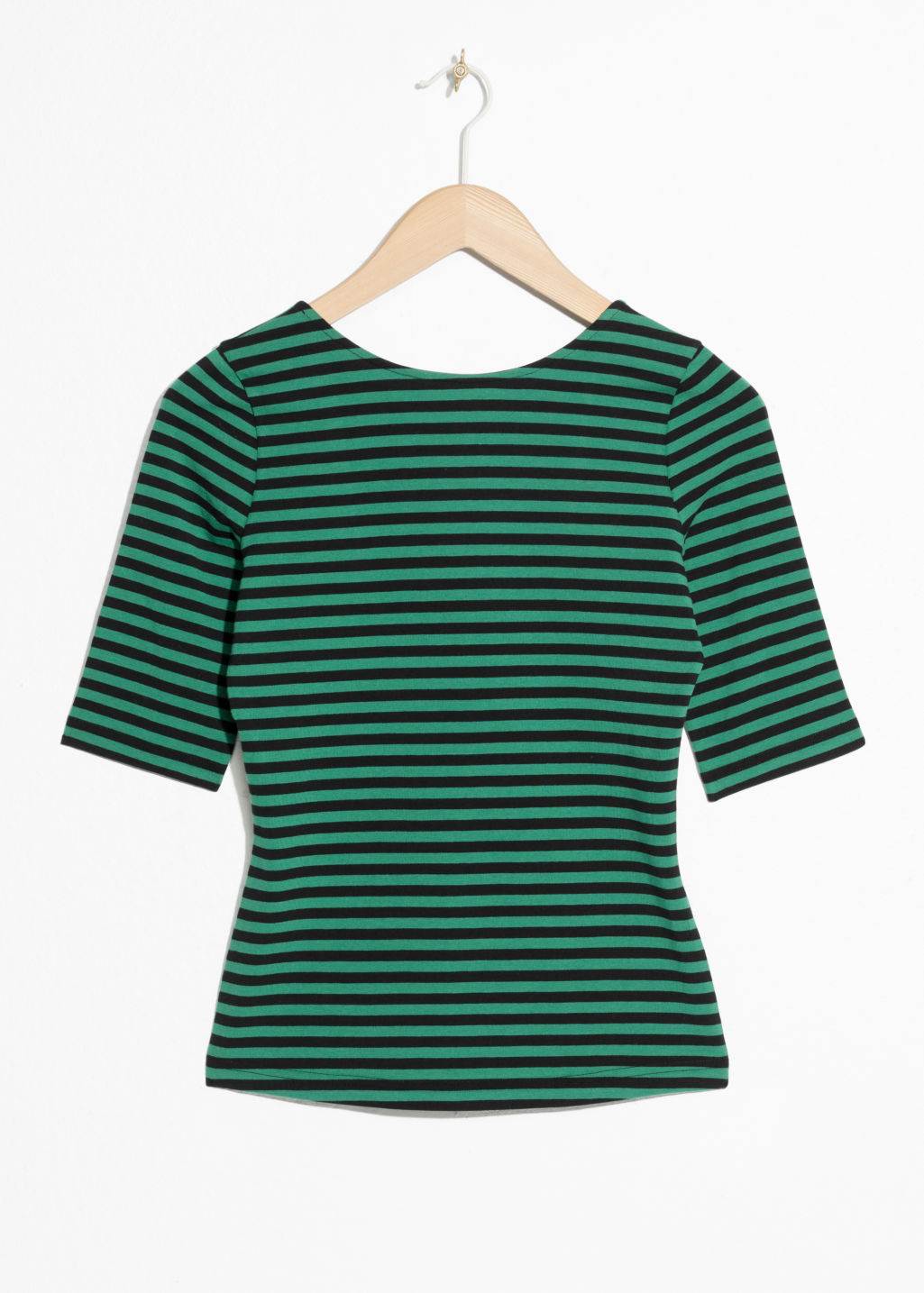 Front image of Stories striped top in green