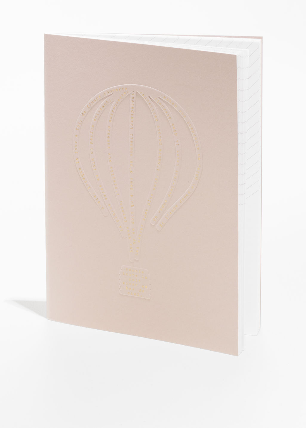 Front image of Stories hot air balloon a5 notebook in orange