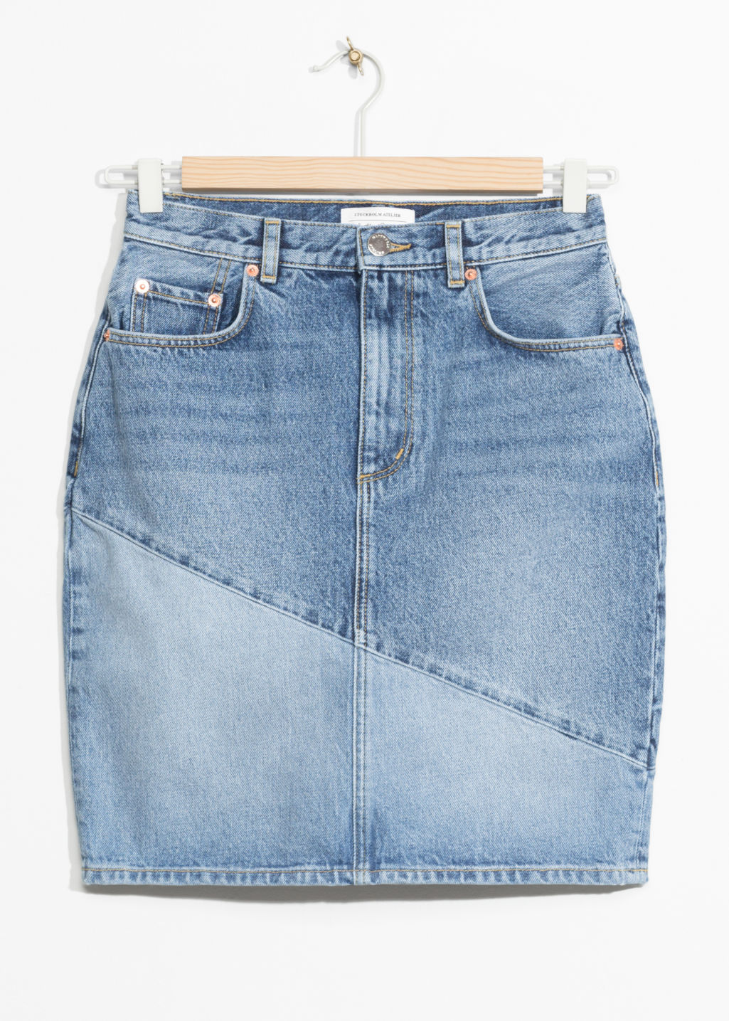 Front image of Stories denim pencil skirt in blue