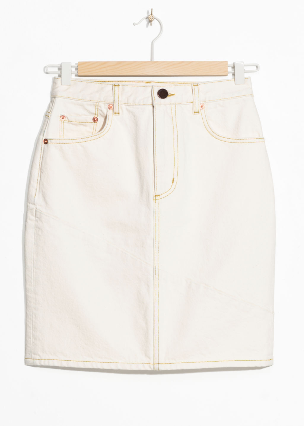 Front image of Stories denim pencil skirt in white