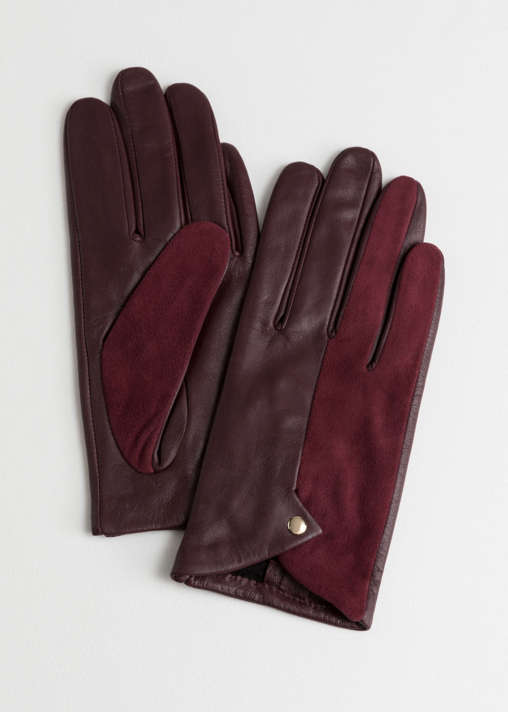 Front image of Stories leather gloves in red