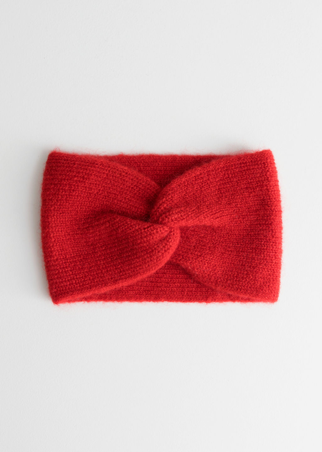 Front image of Stories twist headband in mohair blend in red