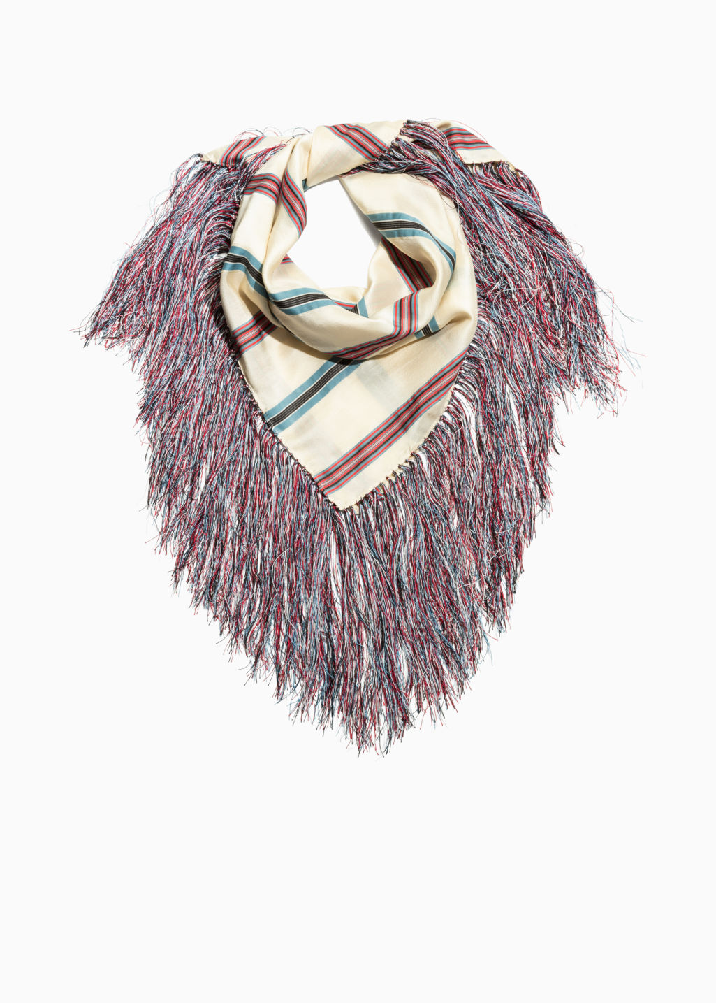 Front image of Stories fringe scarf in red