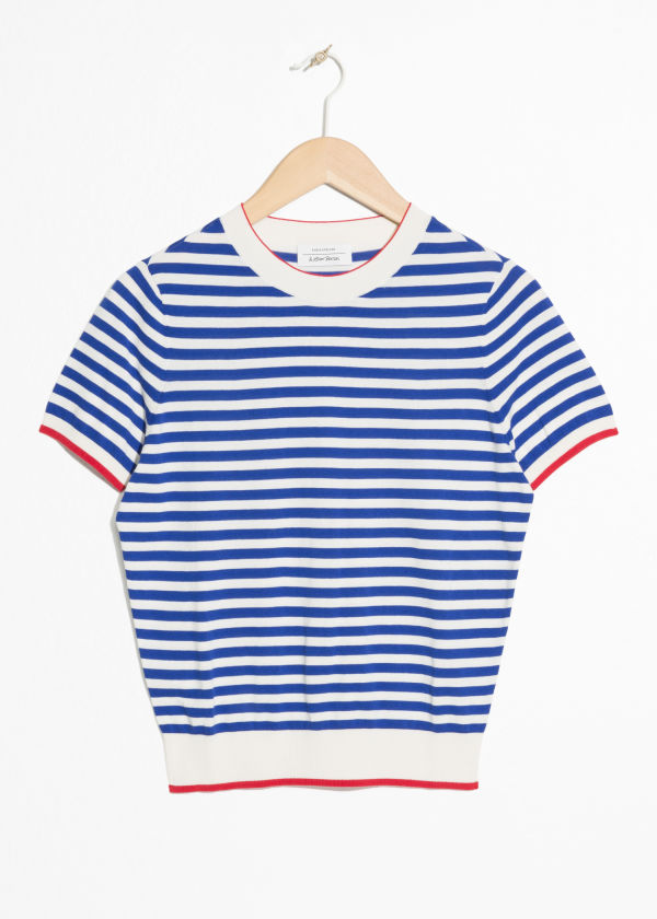 Front image of Stories striped sweater in white