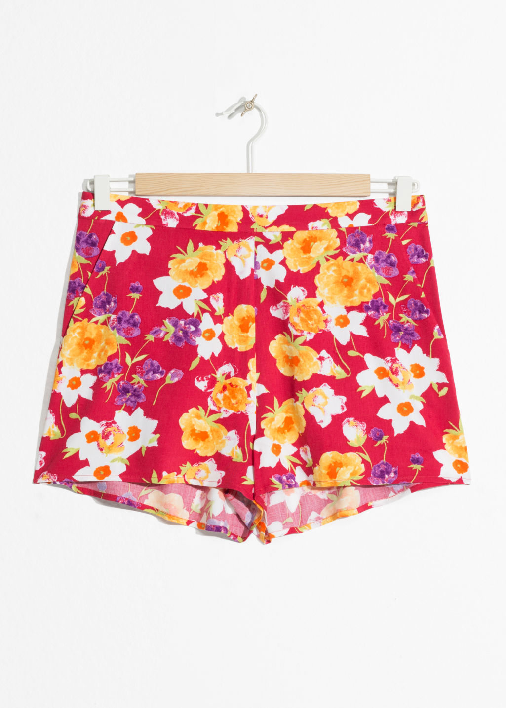 Front image of Stories tropical toucan shorts in red