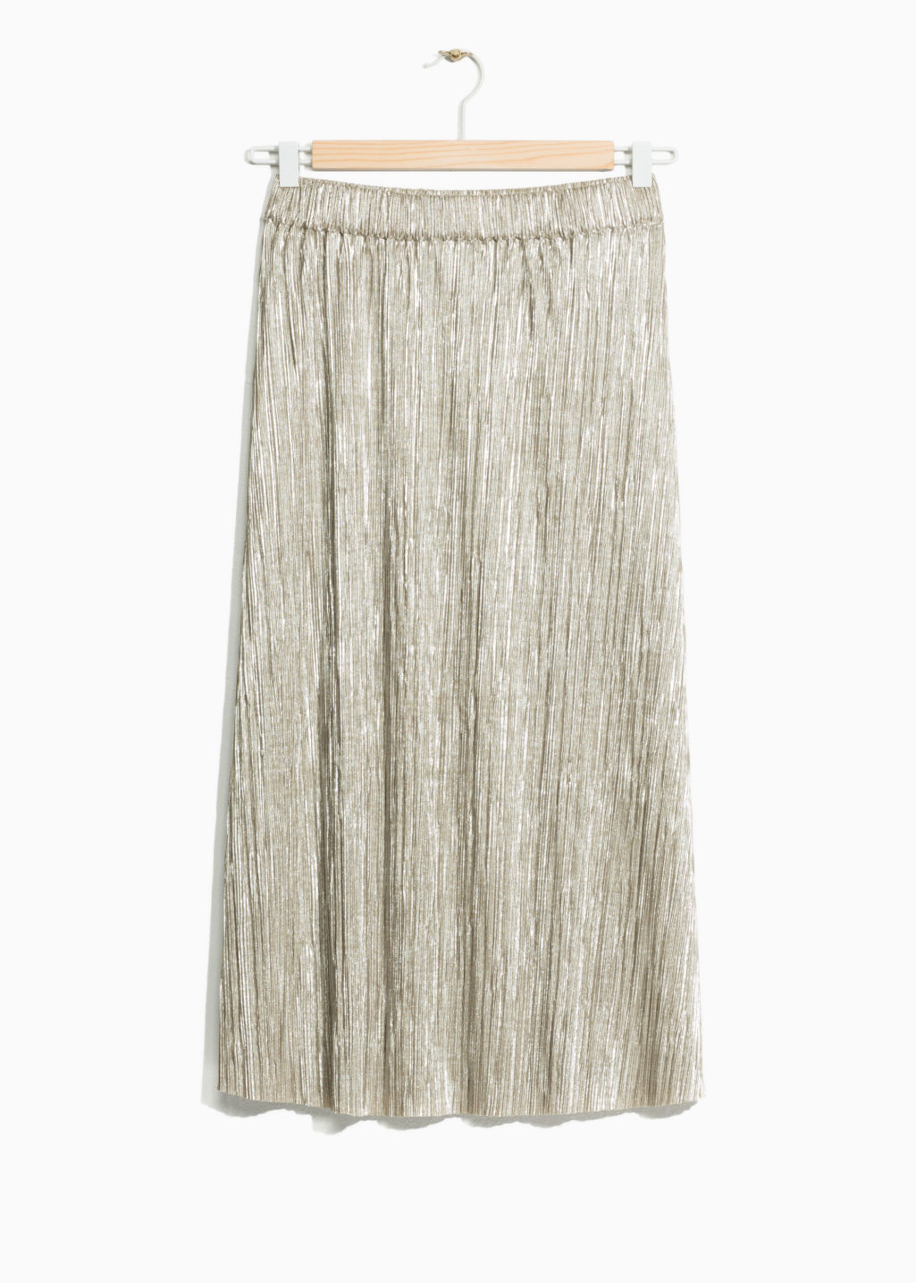 Front image of Stories gilded pleat skirt in gold