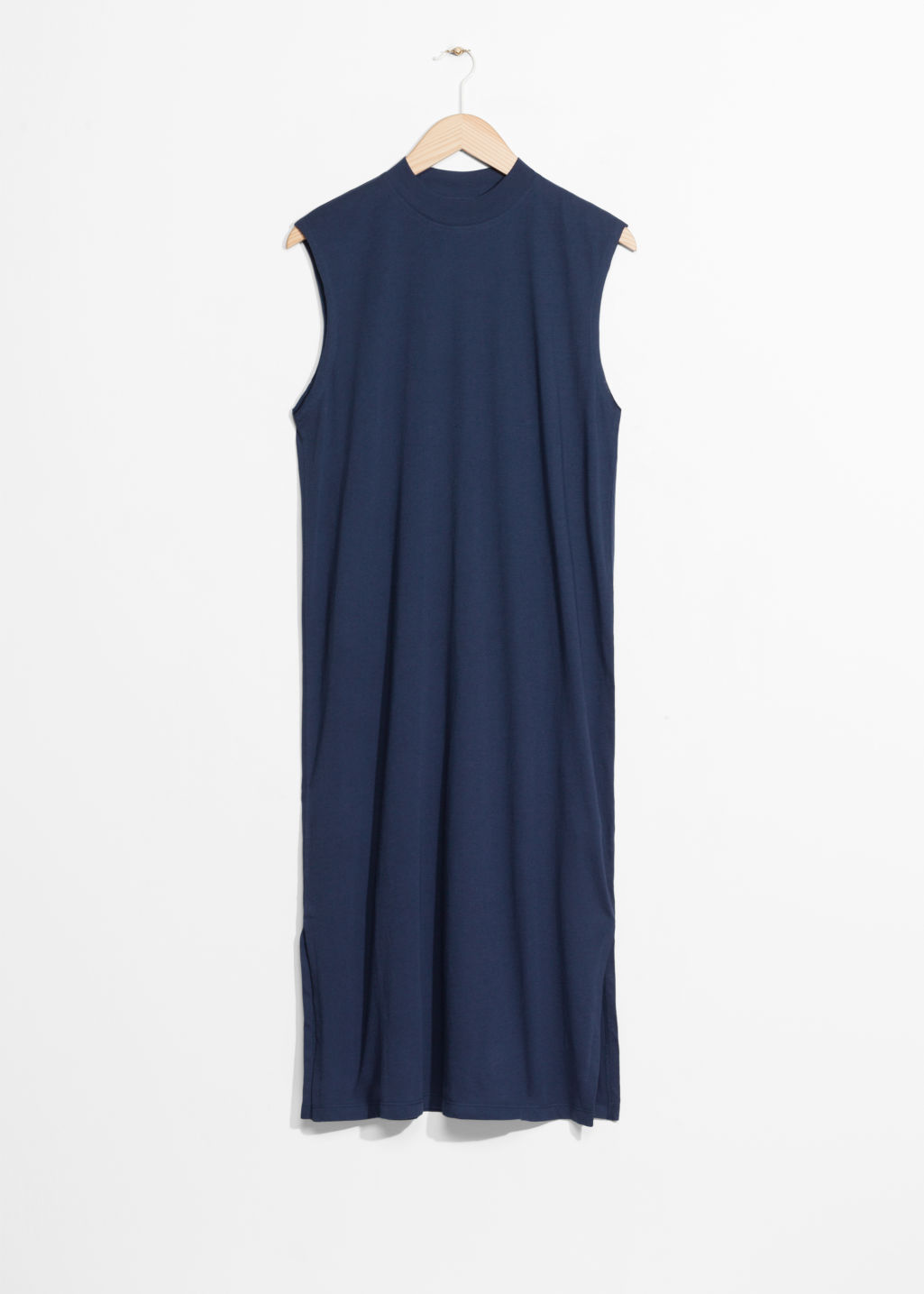 Front image of Stories rib neck dress in blue