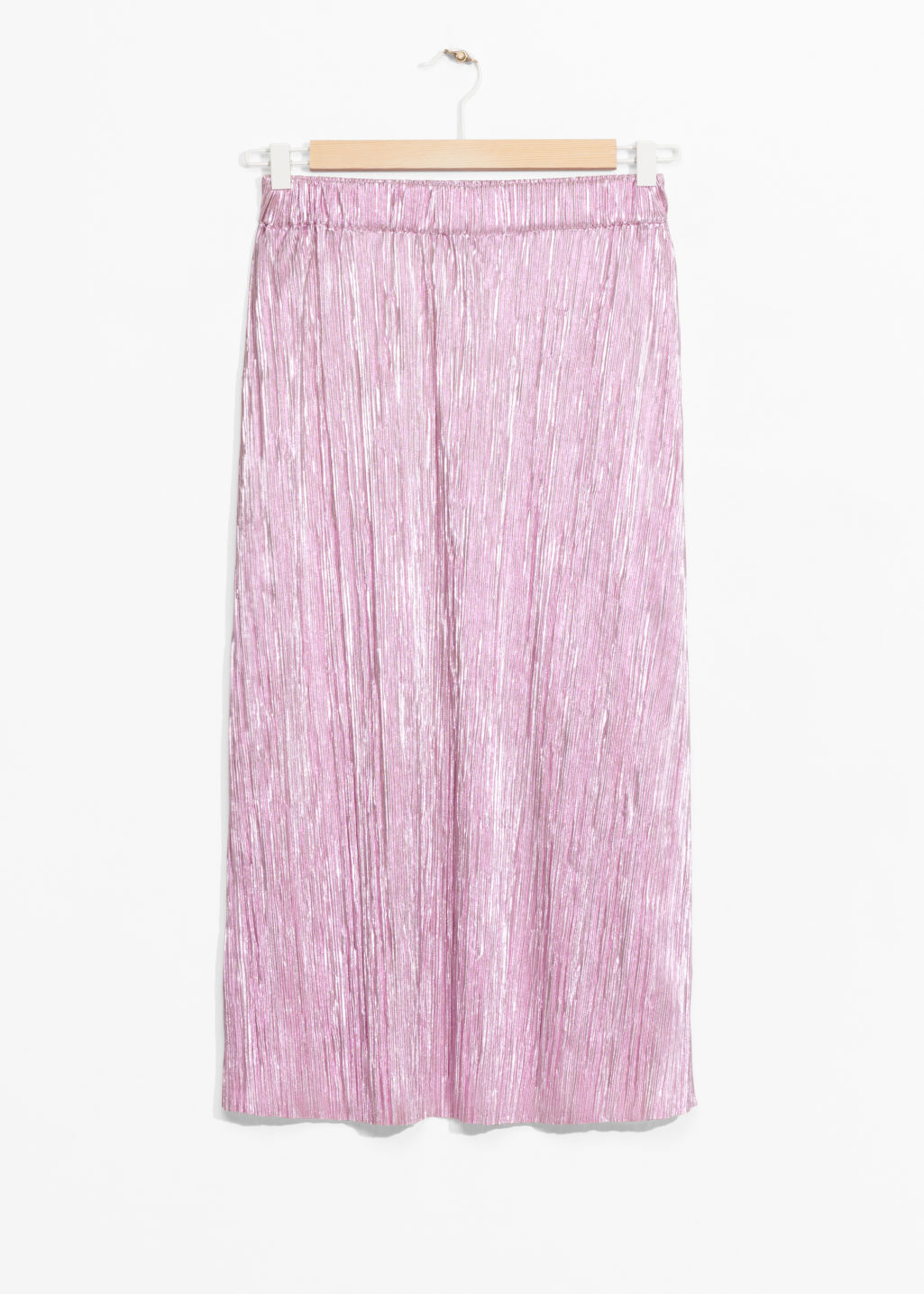 Front image of Stories metallic sheen skirt in pink