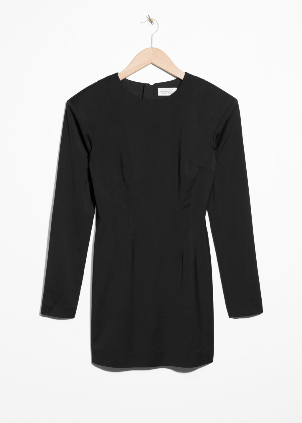 Front image of Stories shoulder pad dress in black