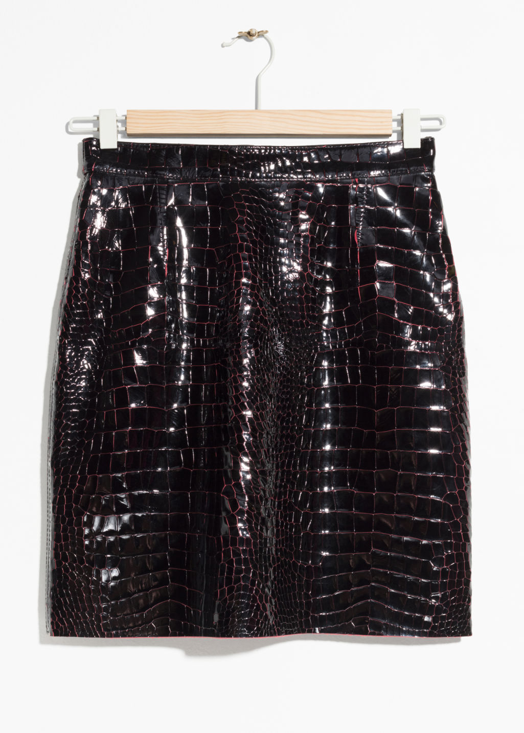 Front image of Stories croco leather skirt in black