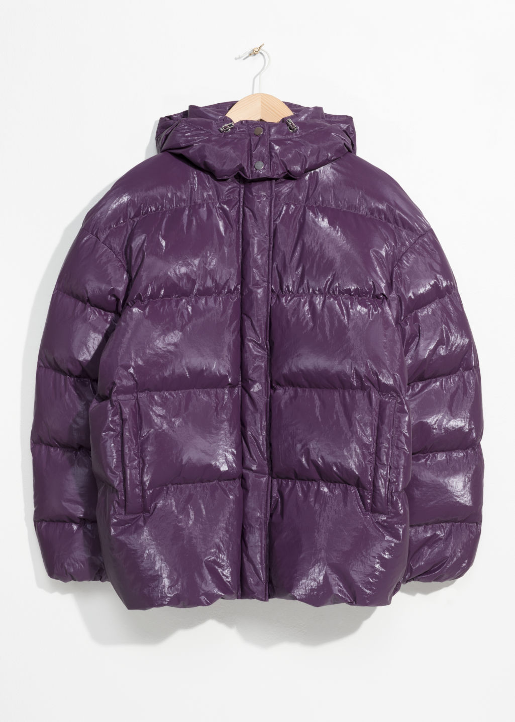 Front image of Stories padded down puffer jacket in purple