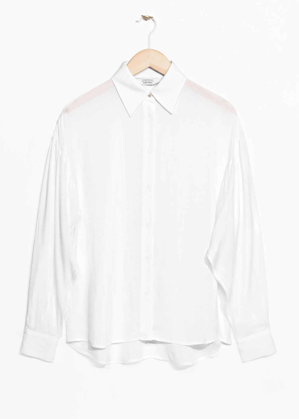 Front image of Stories large collar shirt in white