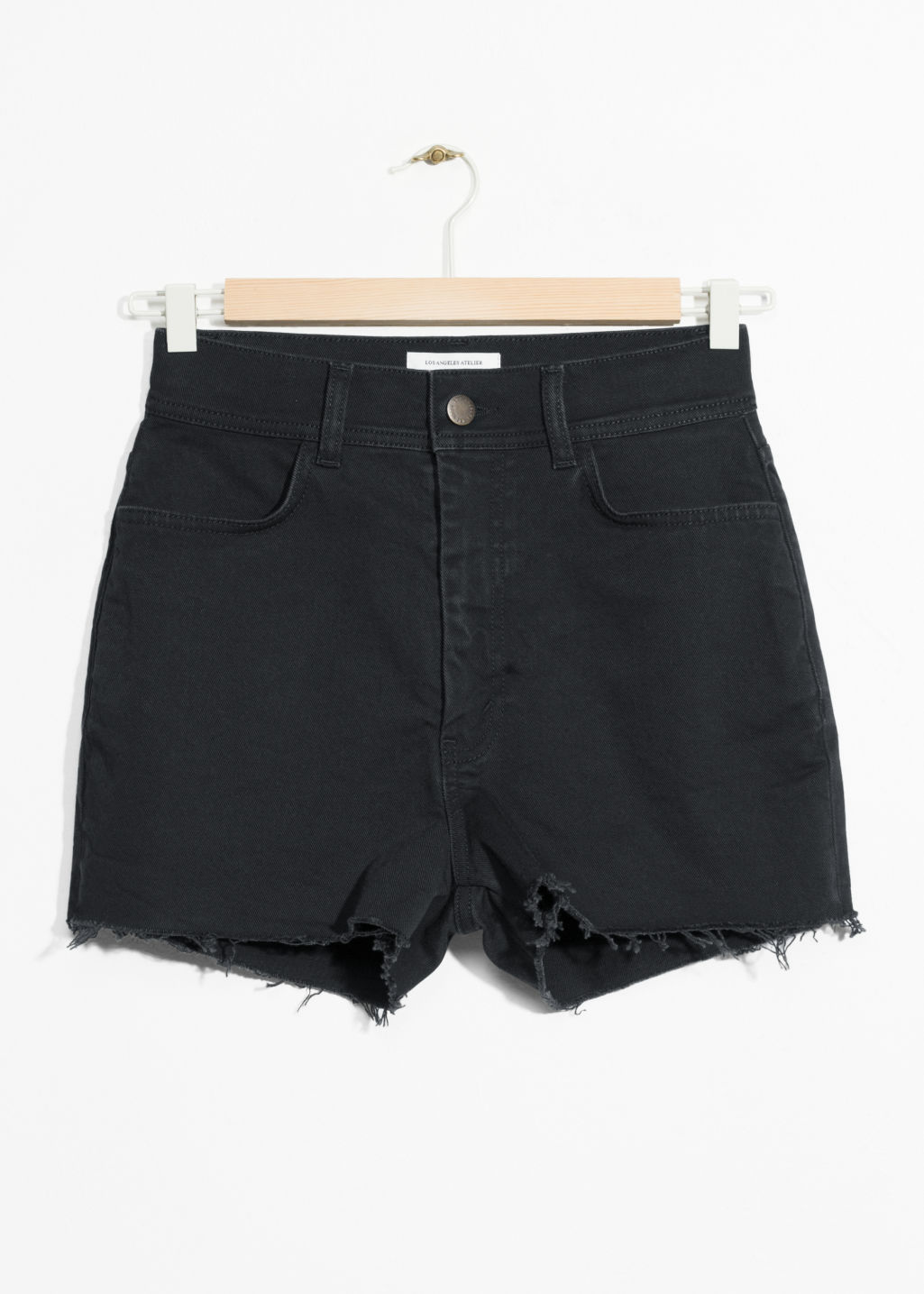 Front image of Stories high waisted denim shorts in black