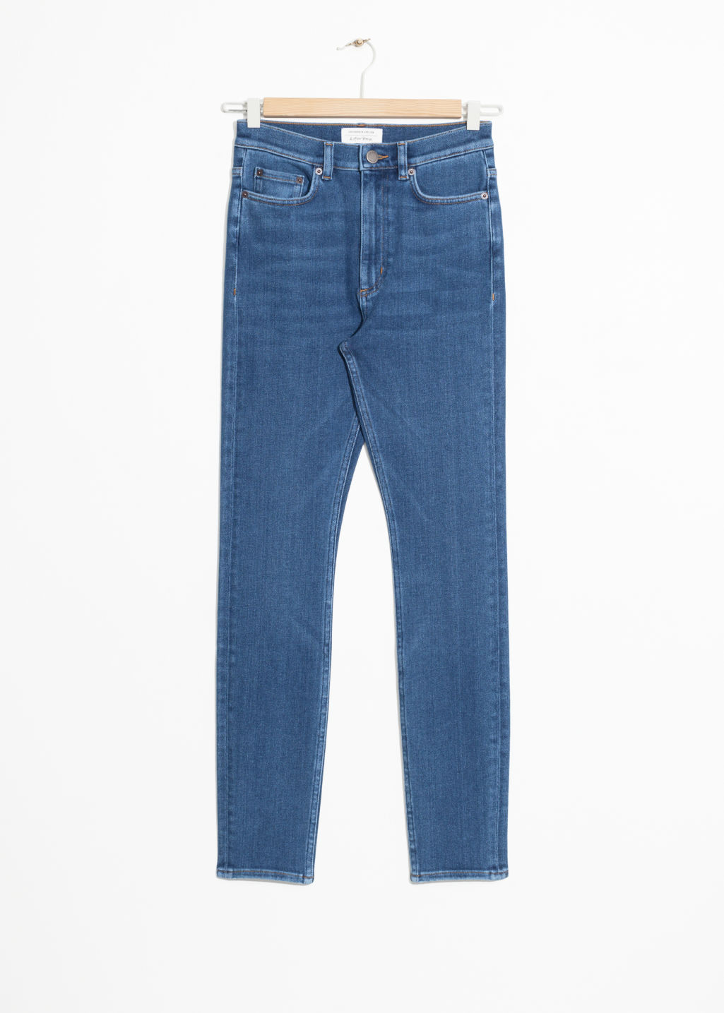 Front image of Stories high-waist denim jeans in blue