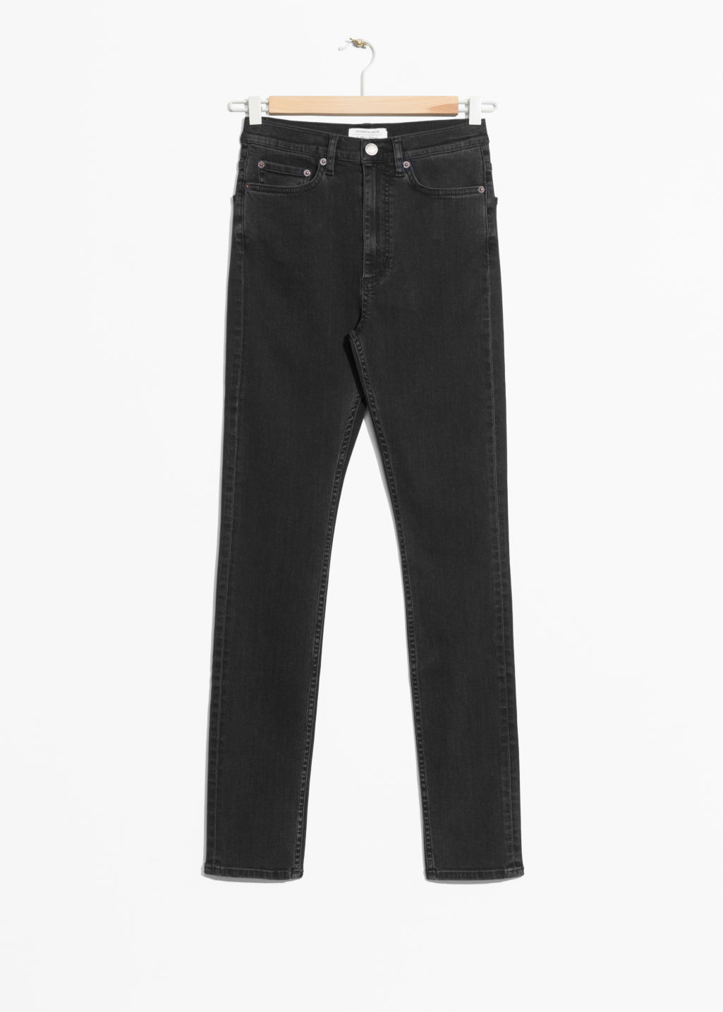 Front image of Stories high-waist denim jeans in grey