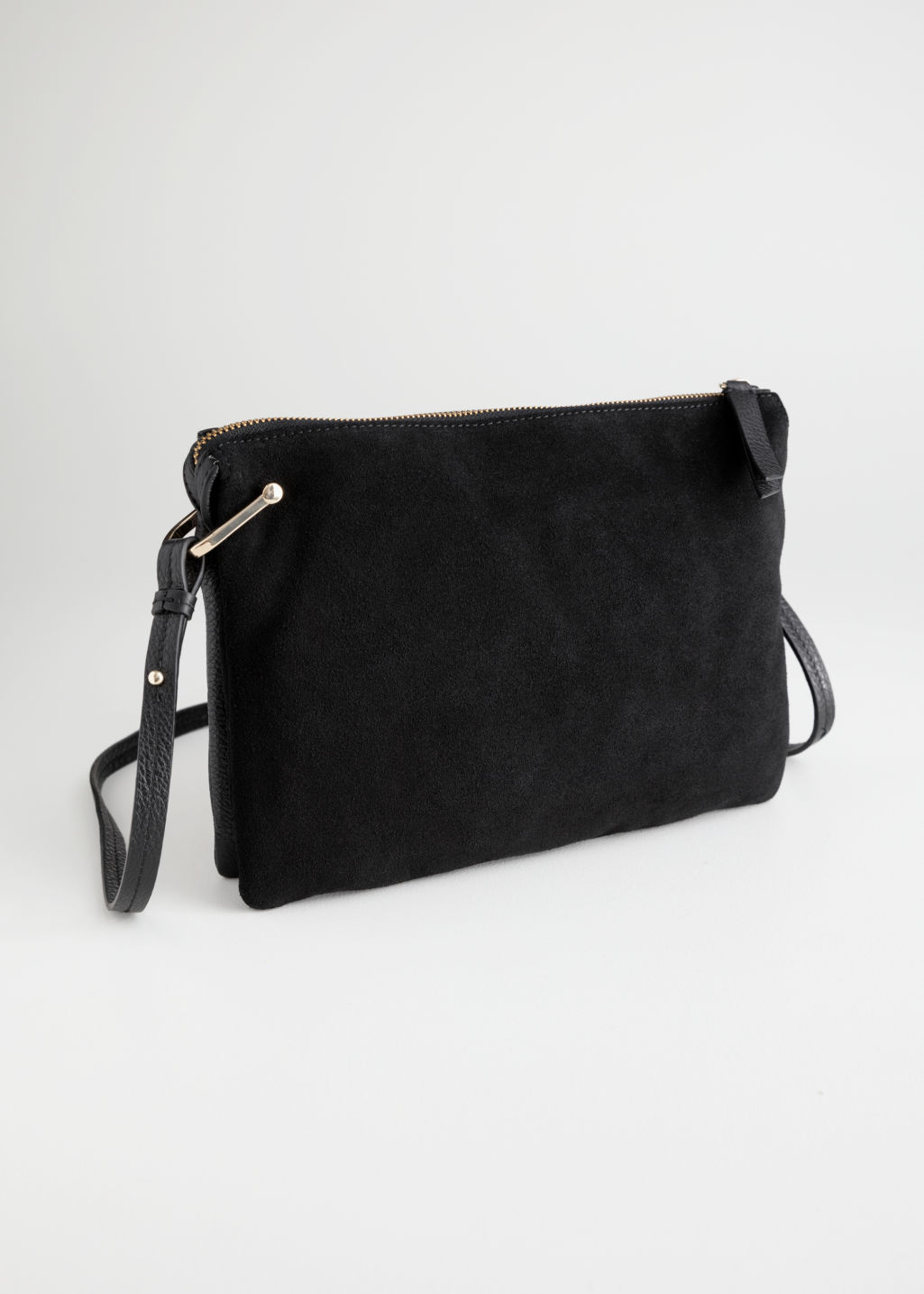 Front image of Stories leather bag with d-ring in black