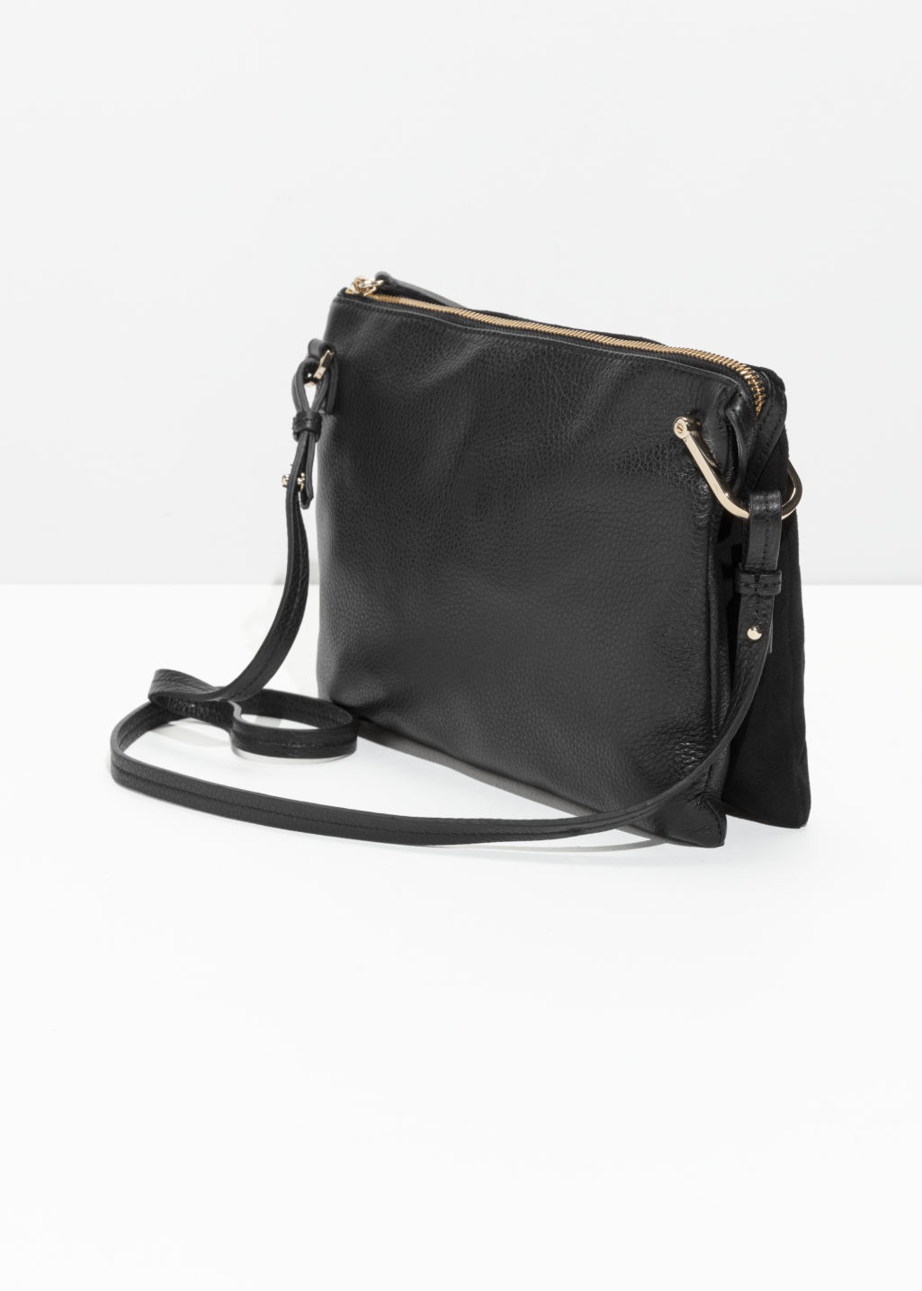 Back image of Stories leather bag with d-ring in black