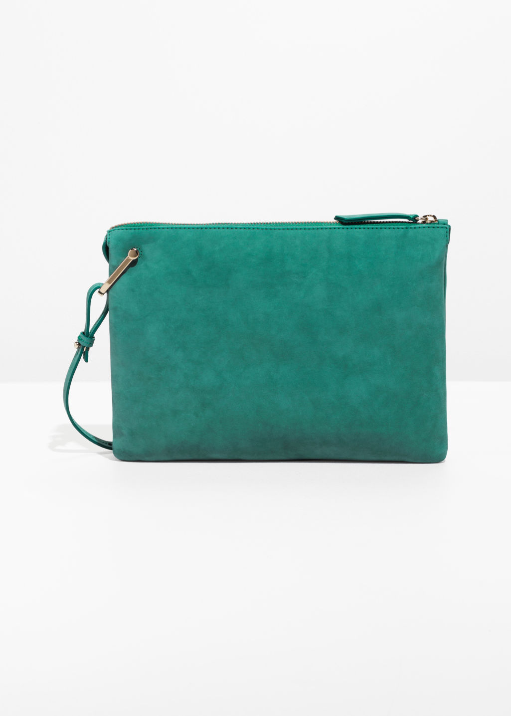Front image of Stories leather bag with d-ring in green