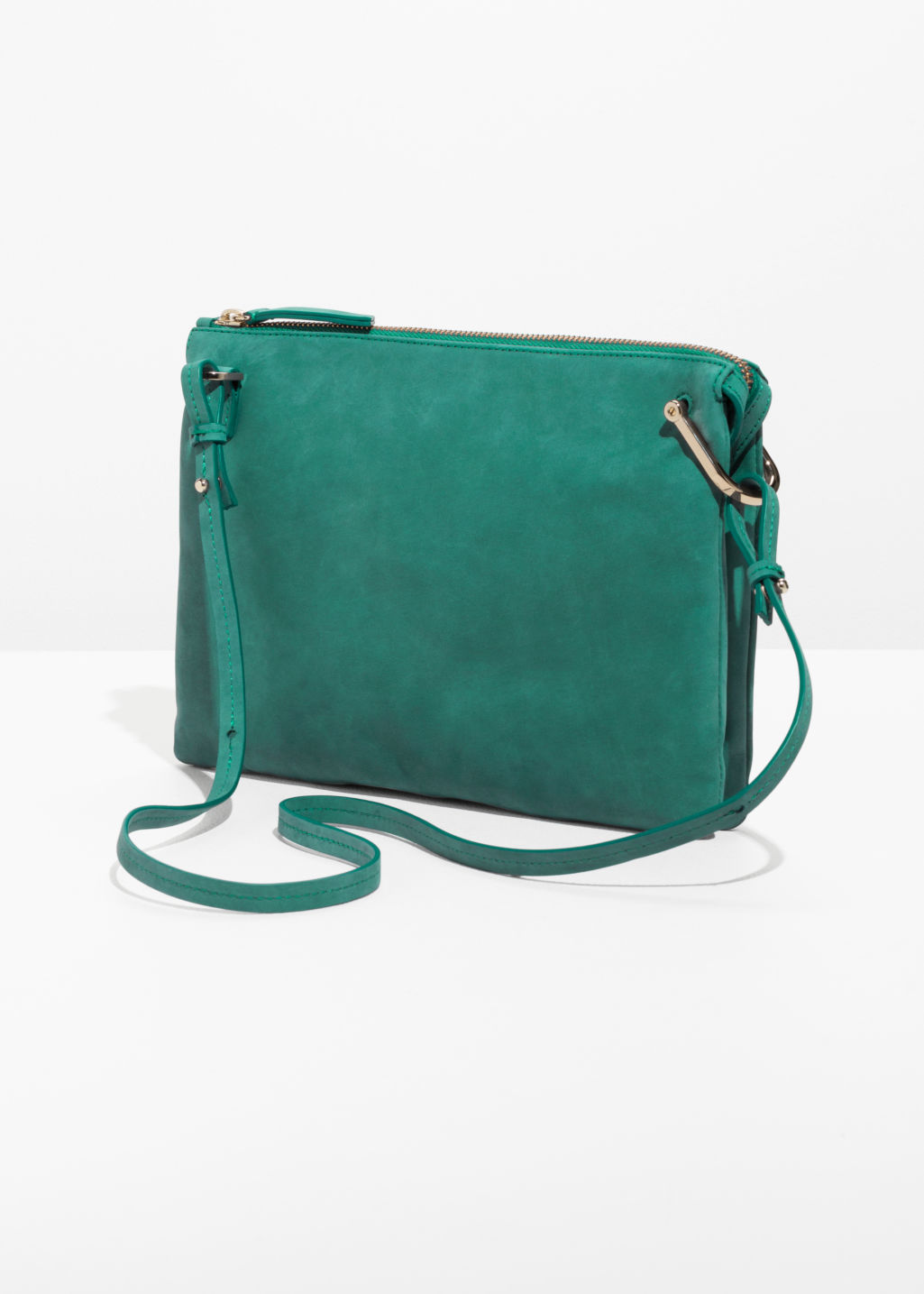 Back image of Stories leather bag with d-ring in green
