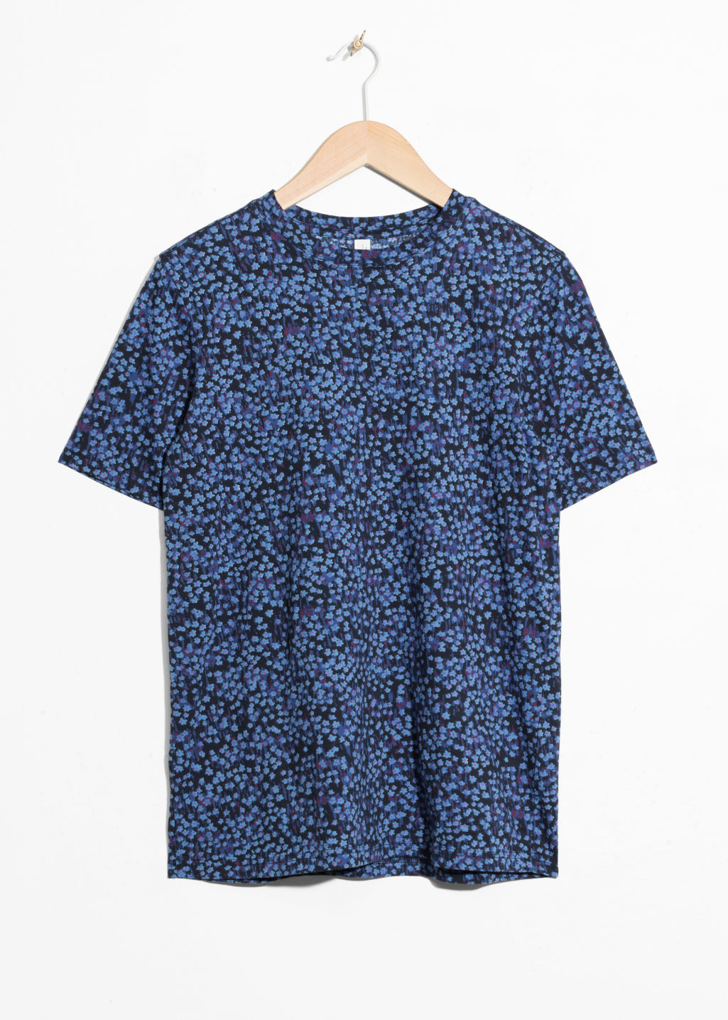 Front image of Stories floral cotton top in blue