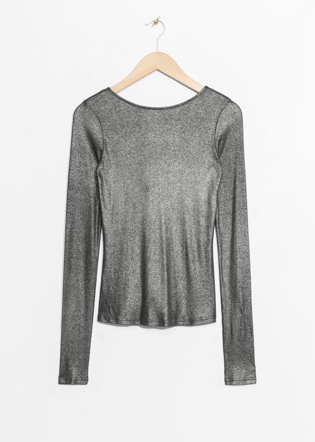Front image of Stories metallic scooped back top in grey