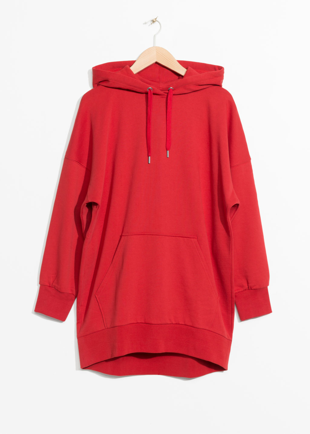 Front image of Stories oversized hoodie dress in red