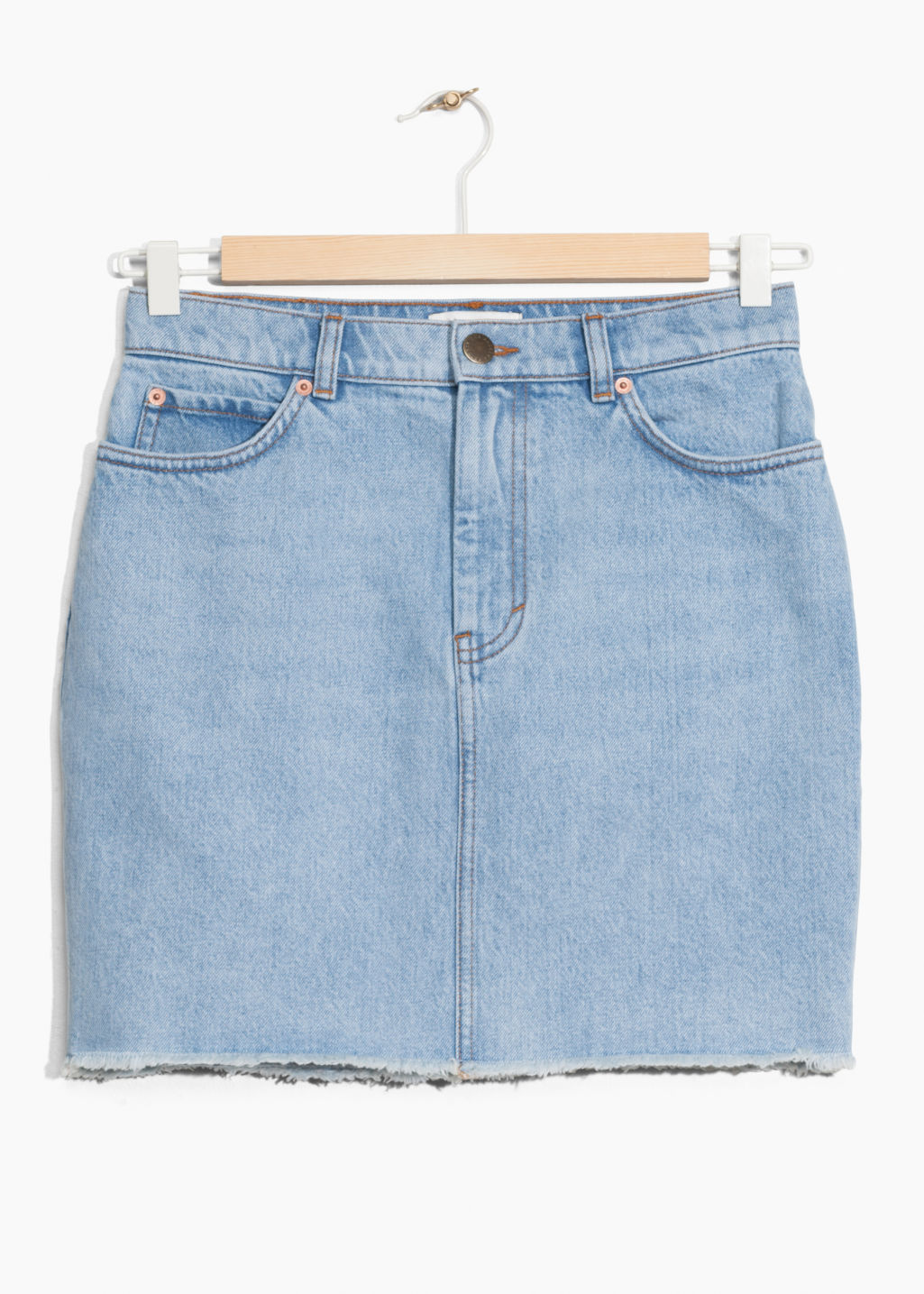 Front image of Stories high waist denim skirt in blue