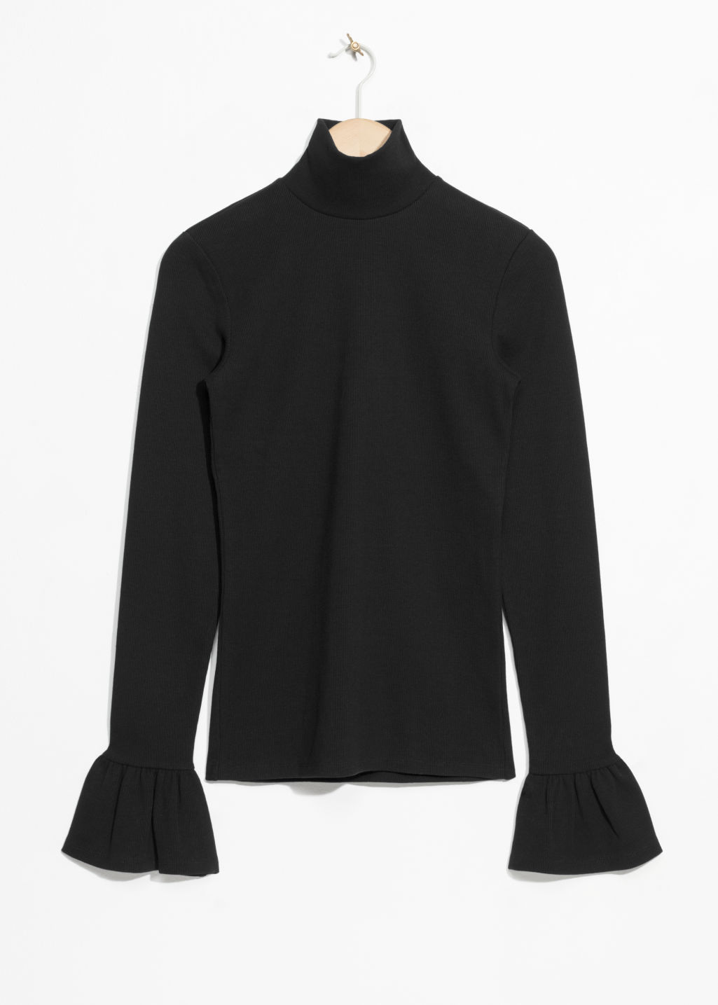 Front image of Stories trumpet sleeve turtleneck top in black