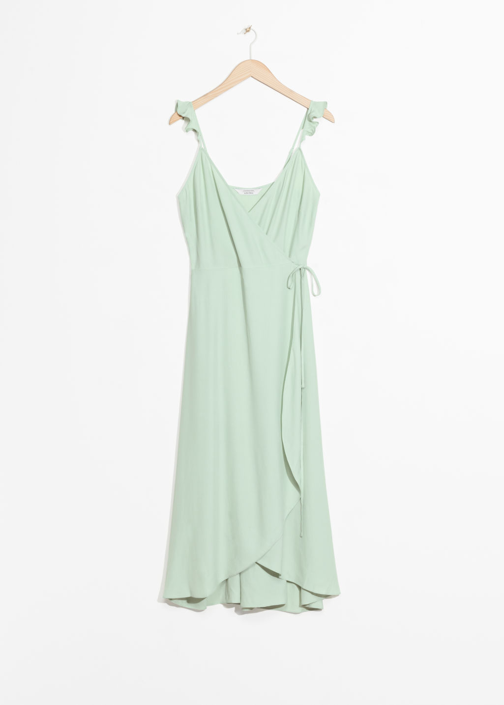 Front image of Stories wrap dress in green