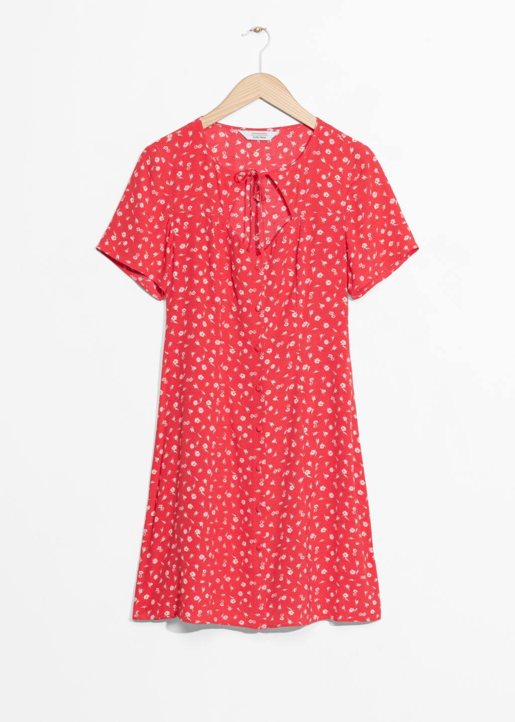 Front image of Stories mini floral print dress in red