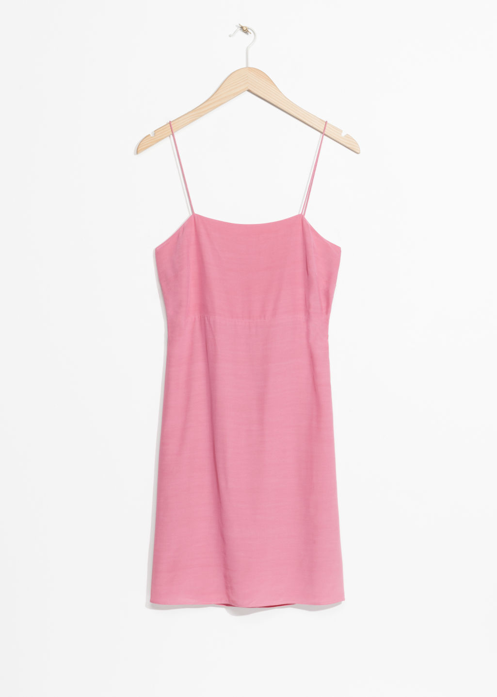 Front image of Stories open back with cami strap ties dress in pink