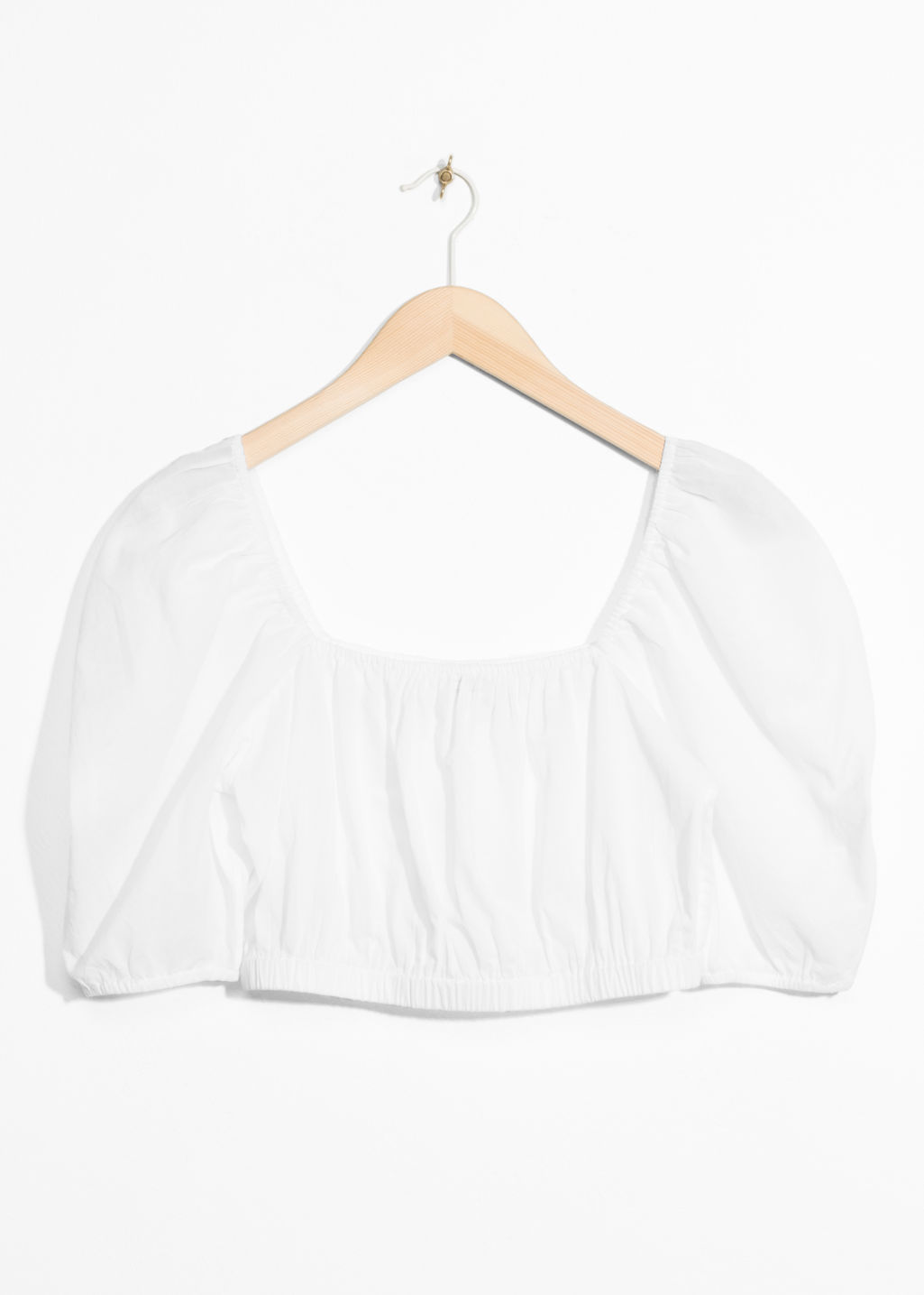 Front image of Stories voluminous crop blouse in white