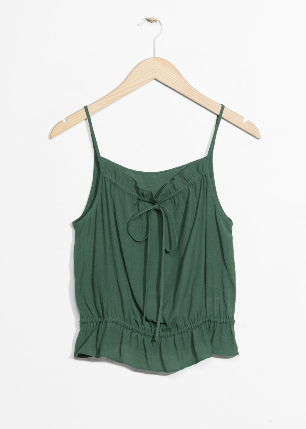 Front image of Stories gathered strap top in green