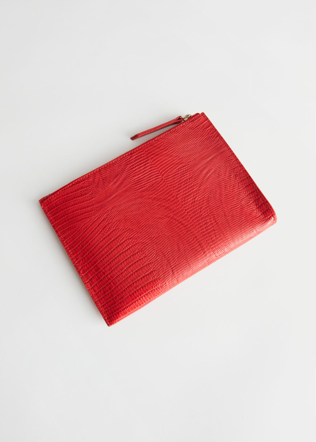 Back image of Stories zipped leather purse in red
