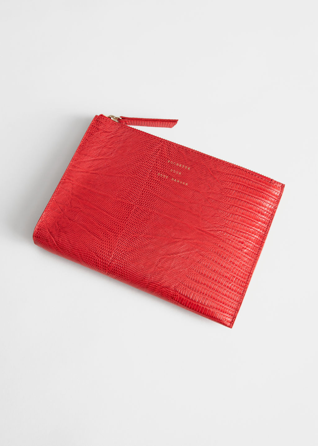 Front image of Stories zipped leather purse in red