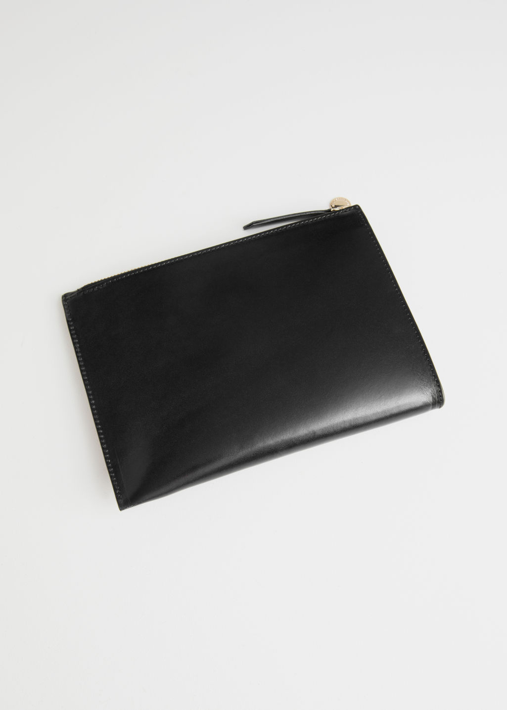 Back image of Stories zipped leather purse in black