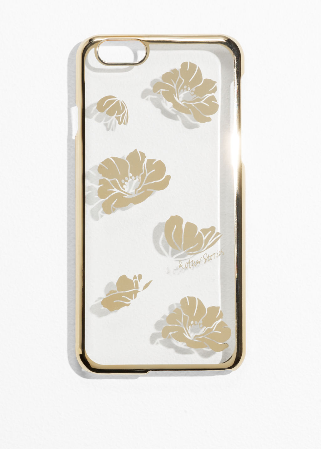 Front image of Stories gilt poppy iphone 6 case in white